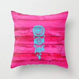 Hipster Teal Dreamcatcher Girly Pink Fuchsia Wood  Throw Pillow