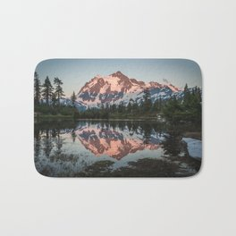 Cascade Sunset - Mt. Shuksan - Nature Photography Bath Mat