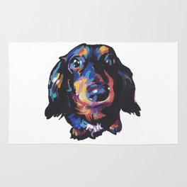 Dachshund Dog bright colorful Doxie Portrait Pop Art Painting by LEA Rug