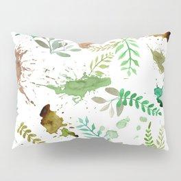 Green Leaves, Paint Splatter, Pattern Pillow Sham