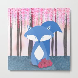 Cute Nursery Fox Flowers Design Metal Print