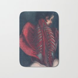 Anatomy art BACK RIB MUSCLE dark art, gothic home decor, gothic decor, gothic wall decor, medical Bath Mat