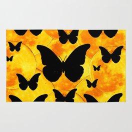 Harvest Gold Moons Black Butterfly Art Rug