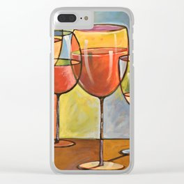 Whites and Reds ... abstract wine glass art, kitchen bar prints Clear iPhone Case