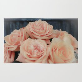 Peach Roses Vinette Country Farmhouse Style Photography Rug