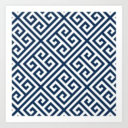Greek Key Navy Art Print