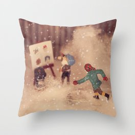 Snowstorm in Christmasland Throw Pillow