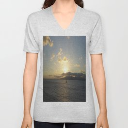 Sailing into a Golden Sunset Unisex V-Neck