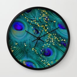 Teal Peacock Feathers Wall Clock
