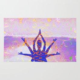 Kali Goddess Sunset Landscape with Tribal Glitch Pattern Rug