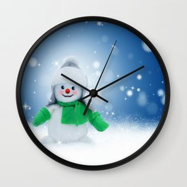 Snowman Wishes Wall Clock