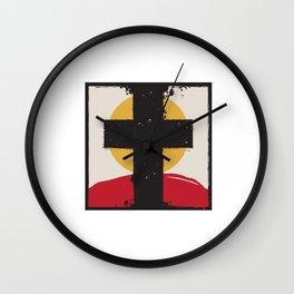 Cross and Sunset Wall Clock