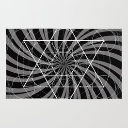 Metatron's Cube Grayscale Spiral of Light Rug