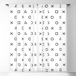 Playstation Controller Pattern (Black on White) Blackout Curtain