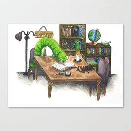 Little Worlds: The Library Canvas Print