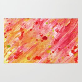 Abstract watercolor red and yellow Rug