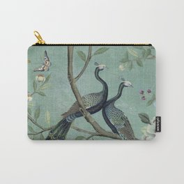 A Teal of Two Birds Chinoiserie Carry-All Pouch