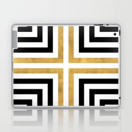 Simple Geometric Cross Pattern - White Gold on Black - Mix & Match with Simplicity of life Laptop & iPad Skin