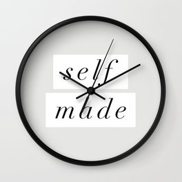 Self Made modern black and white minimalist typography home room wall decor black-white letters Wall Clock