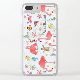"""© Little Flamingo """"Praise the Lord"""" Clear iPhone Case"""