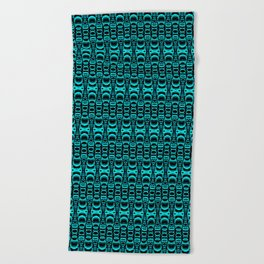 Abstract Pattern Dividers 07 in Turquoise Black Beach Towel