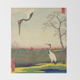 Crane and Cherry Blossom Ukiyoe Landscape Throw Blanket
