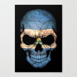 Dark Skull with Flag of El Salvador Canvas Print