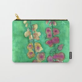 Hollyhock Foxglove Watercolor Honey & Berry on Green Carry-All Pouch