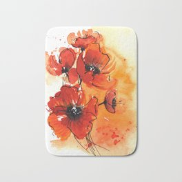 Red Poppy Flowers Watercolor Painting Bath Mat