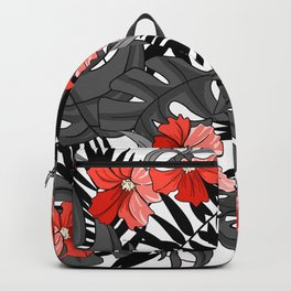 Tropical Flower Pattern - Black and White Backpack