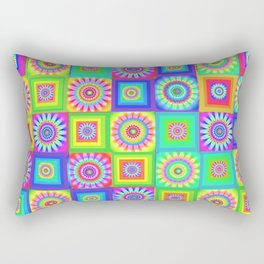 Multicoloured Patchwork Flowers Hippy Style Rectangular Pillow