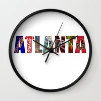 atlanta Wall Clocks featuring ATLANTA by Mental Activity