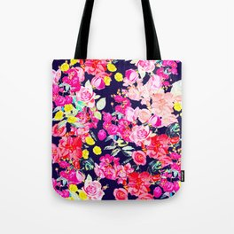 Summer Bright Antique Floral Print with Hot Pink, Yellow, and Navy V2 Tote Bag