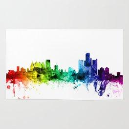 Detroit Michigan Skyline Rug