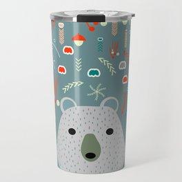 Winter pattern with baby bear Travel Mug