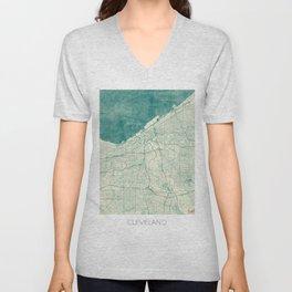 Cleveland Map Blue Vintage Unisex V-Neck