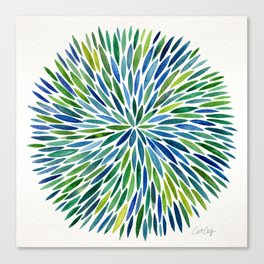 Watercolor Burst – Blue & Green Canvas Print