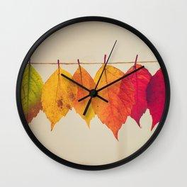 Rainbow Leafs (Color) Wall Clock