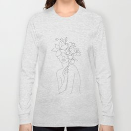 Minimal Line Art Woman with Orchids Long Sleeve T-shirt
