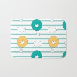 cute lovely cartoon hot air balloons pattern illustration Bath Mat