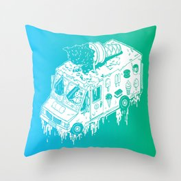 Melty Ice Cream Truck - Mint Throw Pillow