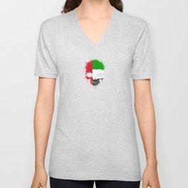 Flag of United Arab Emirates on a Chaotic Splatter Skull Unisex V-Neck