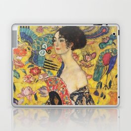 Gustav Klimt Lady With Fan  Art Nouveau Painting Laptop & iPad Skin