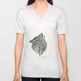 Doodle Howling Wolf Unisex V-Neck