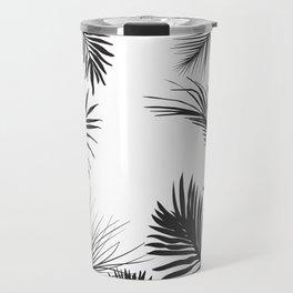 Black And White Palm Leaves Travel Mug