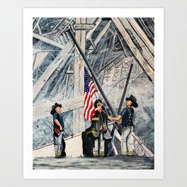 Firefighters Raising the Flag at Ground Zero Art Print