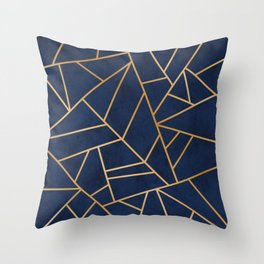 Art Deco Blue Throw Pillow