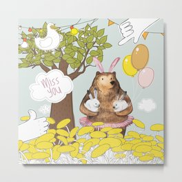 Cute Miss you card design. Metal Print