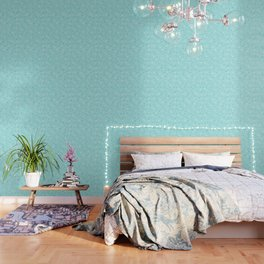 AFE Turquoise Snowflakes Wallpaper