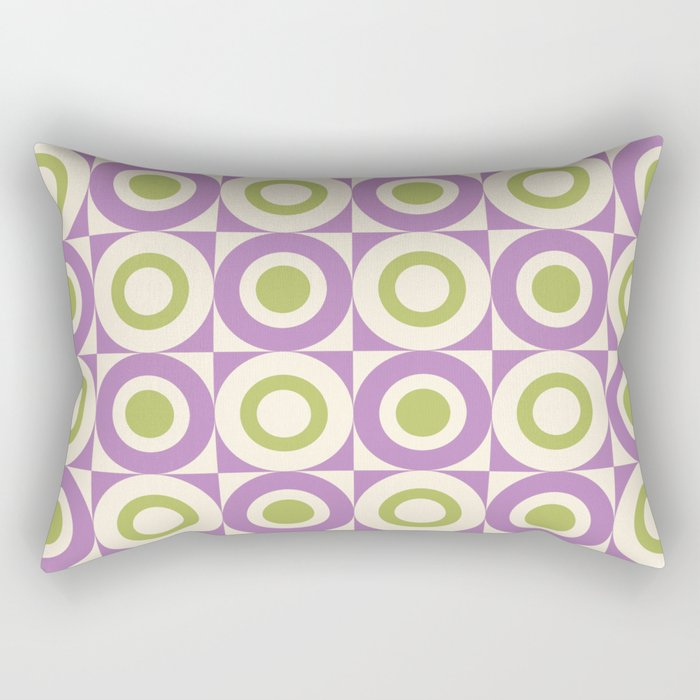 Mid Century Square and Circle Pattern 541 Lavender and Chartreuse Rectangular Pillow